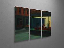 """Edward Hopper Nighthawks Canvas Triptych Canvas Wall Art 48""""x30"""""""