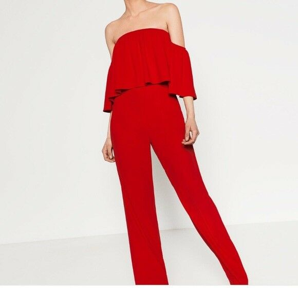 ZARA WOMEN'S OFF SHOULDER  RED JUMPSUIT MADE IN MgoldCCO SIZE S