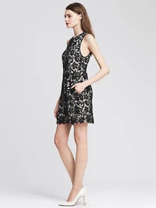 Banana Republic 14 Nwt Black Scalloped Lace Overlay Sheath