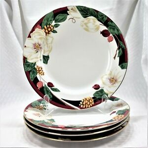 Set-of-4-Tienshan-Magnolia-Dinner-Plates-Brand-New-Discontinued-2004