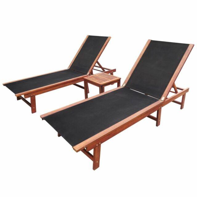 vidaXL Bois d'Acacia Solide Chaises Longues 2 pcs et Table Textilène Jardin