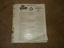 Pye Service Sheet For F.M. - A.M. Stereogram Model G66/A