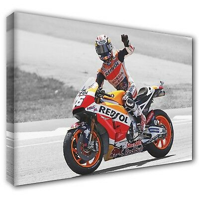 Dani Pedrosa Motorcyclist Racing Photo Print On Framed Canvas Wall Art Decor
