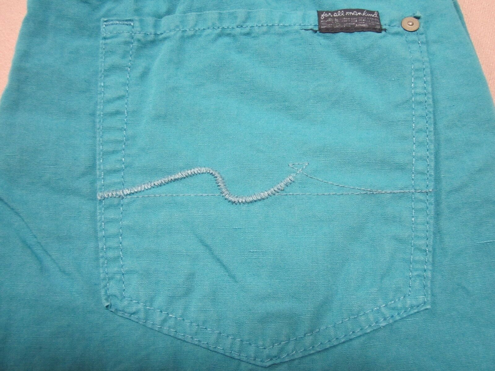 SEVEN 7 FOR ALL MANKIND MENS STANDARD FIT TURQUOISE COTTON LINEN PANTS SIZE 36