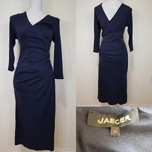 Jaeger-Black-Long-Faux-Wrap-Fitted-Dress-Size-12-Work-Career-Wear