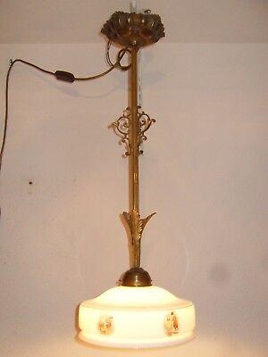 Alte Lampe Aus Messing, Mit Glas Schirm Kindermotive Bilder Zu Hohes Ansehen Zu Hause Und Im Ausland GenießEn