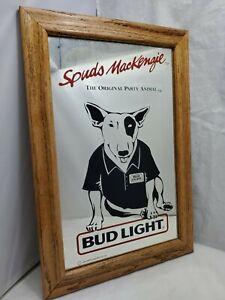 Vintage-Budweiser-Bud-Light-Spuds-Mackenzie-Dog-Sign-Mirror-Beer-Advertising