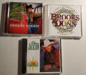 Lot of 3 Country Music Christmas CDs George Strait Brooks Dunn Alan Jackson