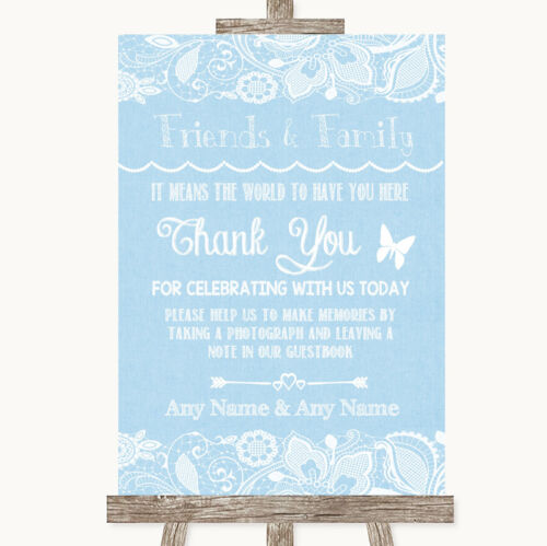 Blue Burlap /& Lace Photo Guestbook Friends /& Family Personalised Wedding Sign