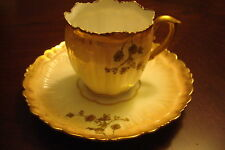 Limoges, France old coffee cup/saucer in sepia and gold [a*5-b1]