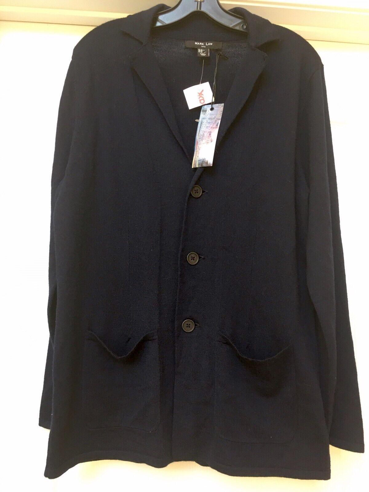 Mark Law Luxury Wool Blend  Navy bluee Cardigan Sweater Mens , Size M.    NWT