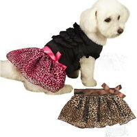 Dog Puppy Skirt - Leopard Ribbon - Pink Or Brown - Choose Size & Color