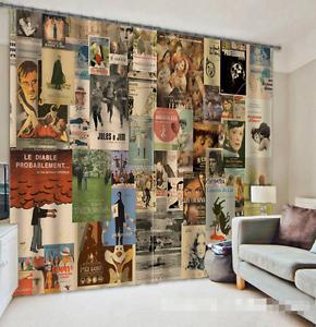 3D Vintage Cortinas de impresión de cortina de foto carteles Blockout Cortinas Ventana De Tela