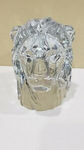 Baccarat-Large-Heavy-Lion-Head-Crystal-Figurine-Paperweight-France