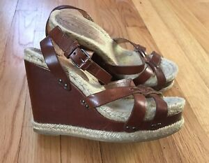 Marc-Jacobs-Wedge-Platform-Sandals-Brown-Leather-Sz-6-5-37