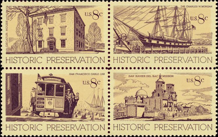 1971 8c Historic Preservation, Block of 4 Scott 1440-43