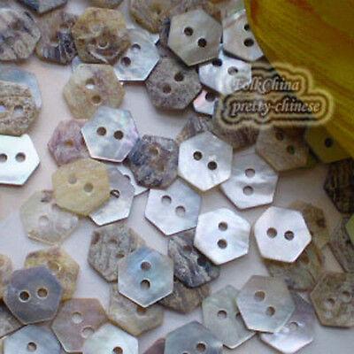 Hexagon 10mm Mother Of Shell Buttons Sewing Scrapbooking Beads Craft MOPSB05