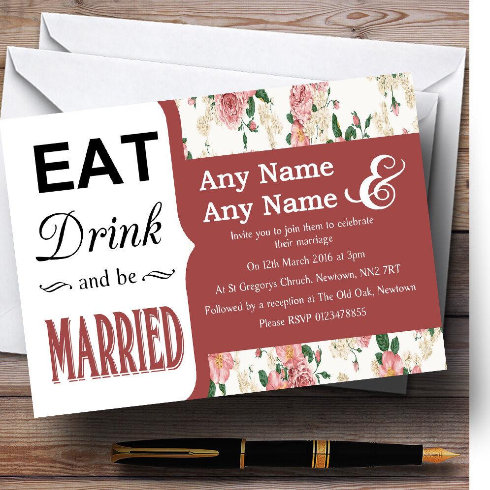Eat Drink Cream Vintage Vintage Vintage Floral Personalised Wedding Invitations 59e1b8