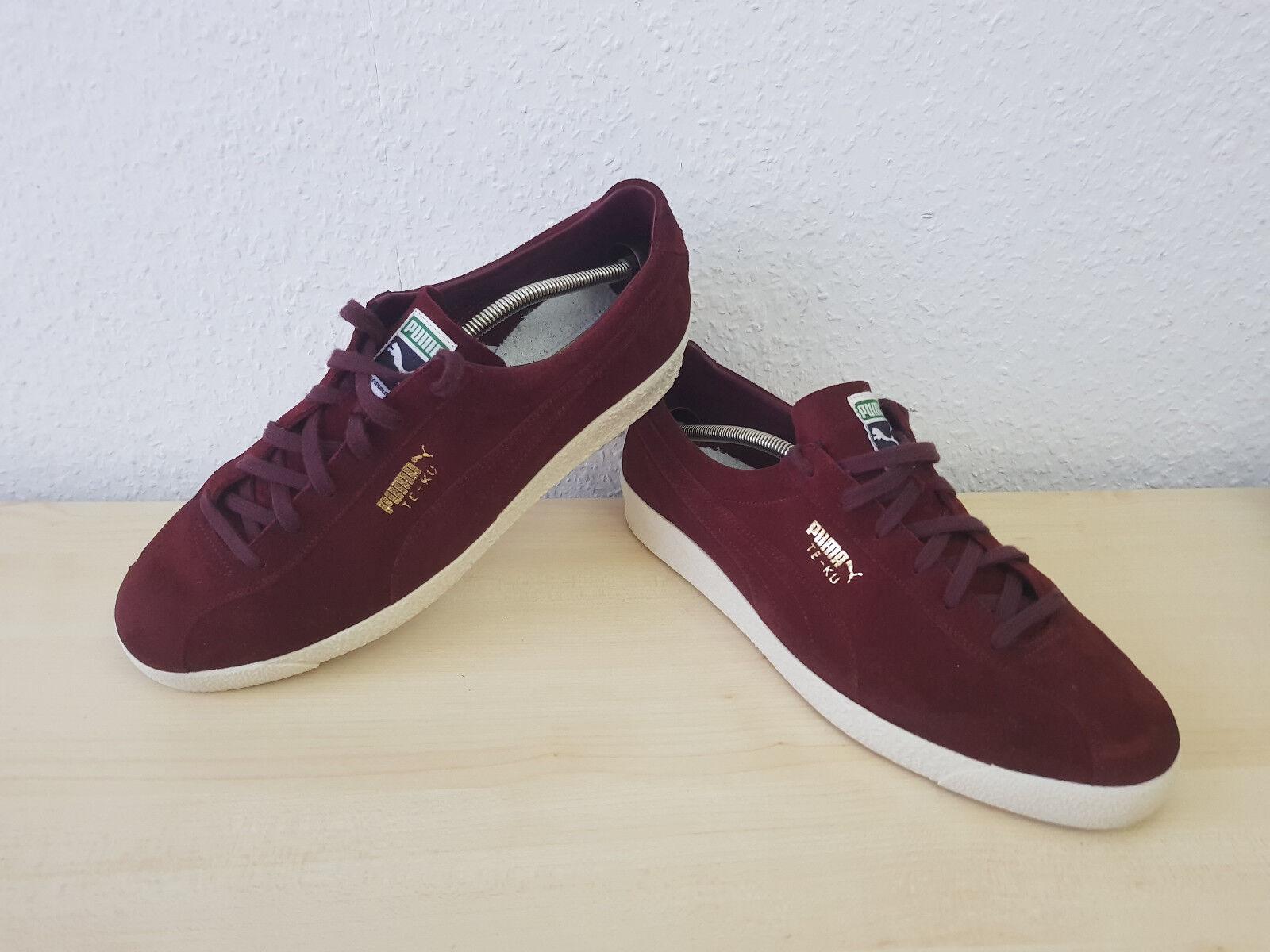 PUMB TE-KU Leder Wildleder Schuhe Sneaker Trainer Bordeaux 12 = 47 Wie NEU