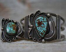 Vintage Native American Navajo Sterling Silver Cuff Bracelet Ring Set