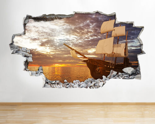 H894 Old Small Ship Sailing Sunset Smashed Wall Decal 3D Art Stickers Vinyl Room