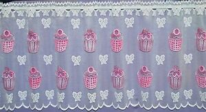 CUP-CAKES-WITH-COLOURED-MOTIFS-ON-A-WHITE-BACK-GROUND-CAFE-NET-CURTAIN