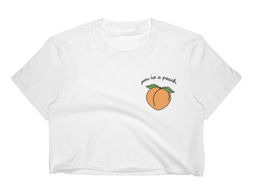 YOU/'RE A PEACH CROP TOP T SHIRT WOMENS FUNNY HIPSTER SLOGAN LADIES CUTE FRUIT