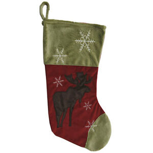 image is loading snowflake moose lodge themed christmas stocking - Moose Christmas Stocking
