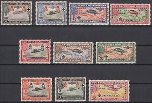 Serie-Cruz-Rouge-Aviation-363-372-Annee-1927-Complet-Avec-Caoutchouc
