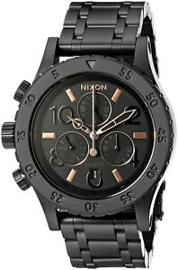 Nixon-Woman-039-s-38-20-Chrono-All-Black-Rose-Gold-38mm-Watch-A404957