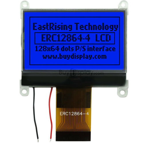 """1.8/""""Blue 128x64 Graphic LCD Module Display Serial,ST7565P w//Tutorial,Connector"""