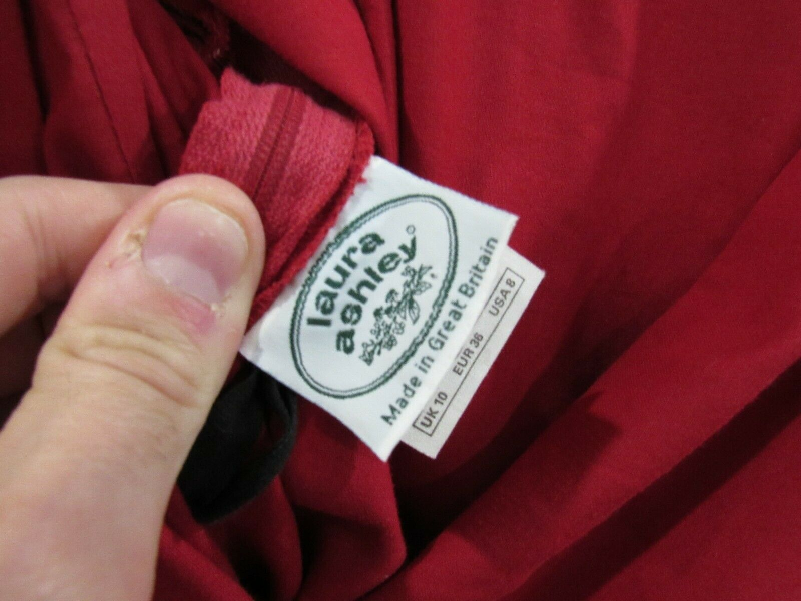 Vintage Laura Ashley 90s Red Heavy Cotton Puff Sl… - image 6