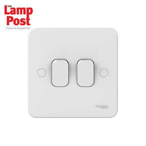 Schneider Electric GGBL 1022 lisse 2 Gang 2 Voie 10 A Interrupteur De Lumière Blanc