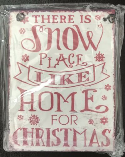 Rétro Métal il y a neige Place Like Home for Christmas Hanging Sign Plaque