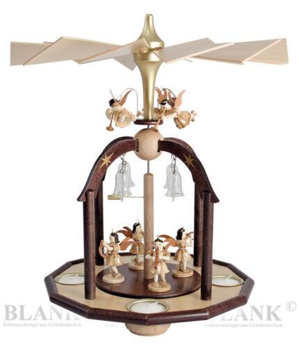 Teelicht Pyramide natur Engel mit Glasglocken Blank Erzgebirge Kurzrock PG 002T