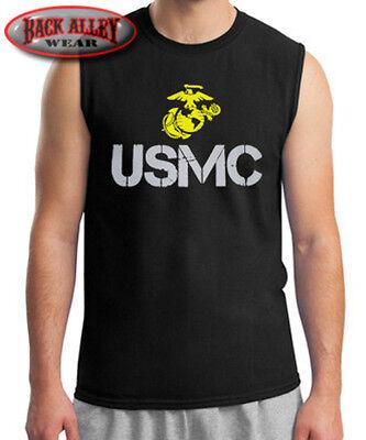 USMC Sleeveless Muscle Shirt M-2XL Marines Few the Proud THE CORPS SEMPER FI