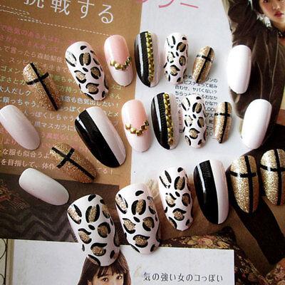 24 X Leopard Fake Nails Art Tips Acrylic Nail False Full Cover Manicure  Decor 747710140502 | eBay