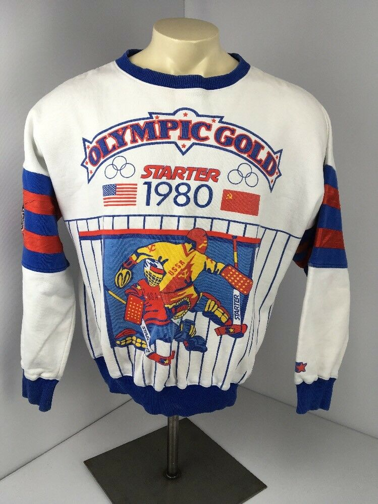 Vintage STARTER 1980 OLYMPIC GOLD MIRACLE ON ICE sweatshirt L Rare Lake Placid