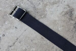 Blue-ribbed-nylon-17-3mm-vintage-watch-band-1-piece-type-NOS-1960s-silver-buckle