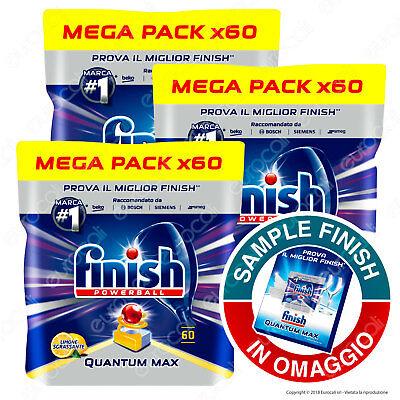 Finish Quantum Max Limone Sgrassante Tabs Lavastoviglie Mega Pack 3x60 Pastiglie