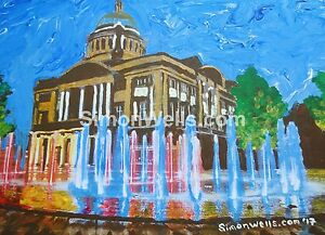 Victoria-Square-fountains-hull-A5-print-of-original-art