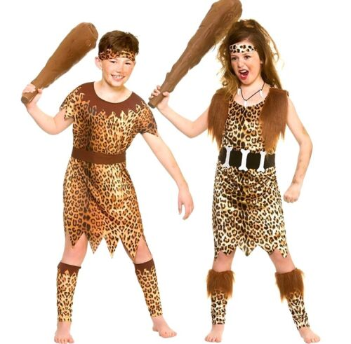 Child STONE AGE CAVE Fancy Dress Costume Kids Boys Girls Animal Jungle Iron Age