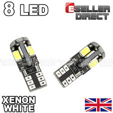 2x BULBS T10 8SMD LED SIDELIGHTS PURE WHITE NO ERROR FREE SKODA OCTAVIA