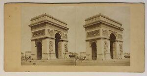 Parigi Arco Di Triomphe Francia Foto Stereo P49p2n Vintage Albumina c1870