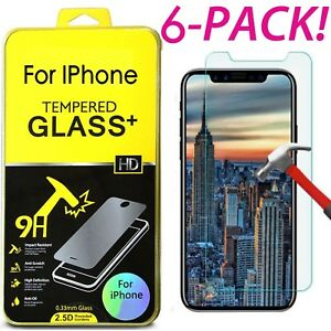 6X-Tempered-Glass-Protective-Screen-Protector-Film-for-iPhone-XS-Max-6-7-8-lot