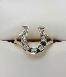 Stunning-9-carat-Gold-Diamond-Horseshoe-Ladies-Dress-Ring-Size-O
