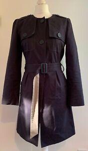 Betty-Jackson-Women-039-s-Cotton-Navy-Blue-Military-Long-Belt-Mac-Coat-Jacket-UK-10
