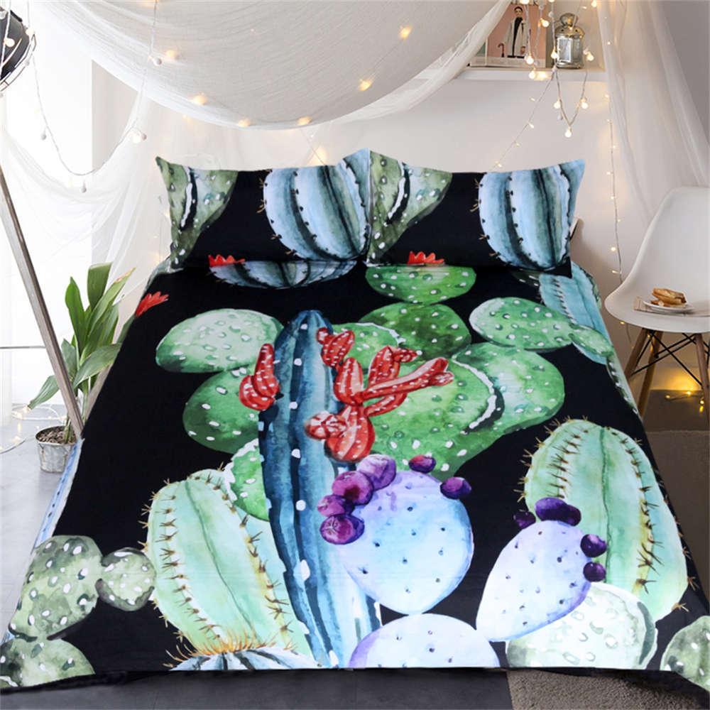 Purple Balls Long Cactus 3D Digital Print Bedding Duvet Quilt Cover Pillowcase
