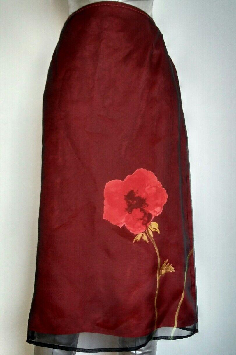 Brand New COAST evening skirt size 10 knee length 100% Silk Flower Stunning