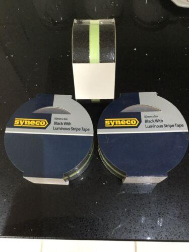 3 X 5m X 50mm syneco negro con rayas de cinta antideslizante paso Luminious